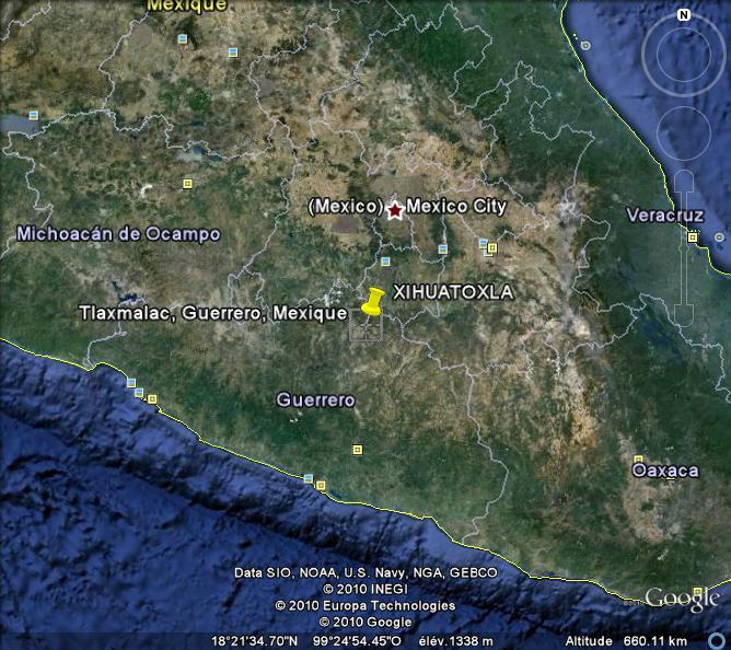 Carte de la zone d'origine du maïs au Mexique